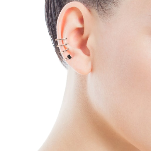 Motif spiral Earcuff in Rose Silver Vermeil with Spinels
