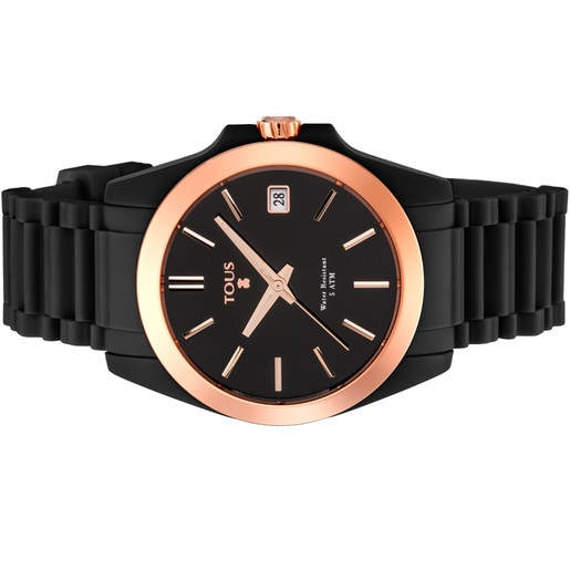 Rose IP Steel Drive Fun Watch with black Silicone strap