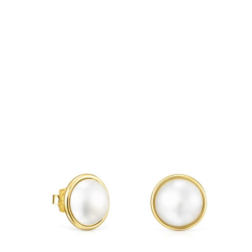 Large Gold and Pearl Avalon Earrings