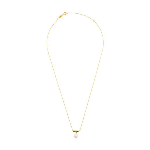 Gold Lio Necklace with Gems and Pearl
