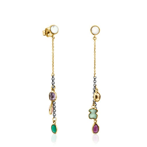 Gold and Silver Gem Power Earrings with Gemstones