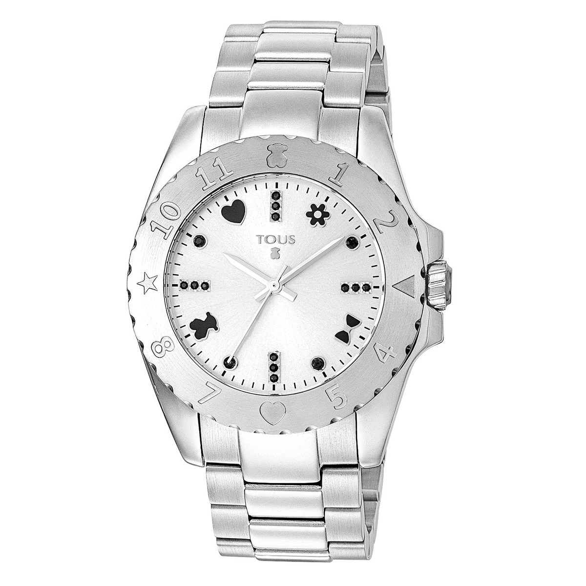 Steel Motif Watch with spinels