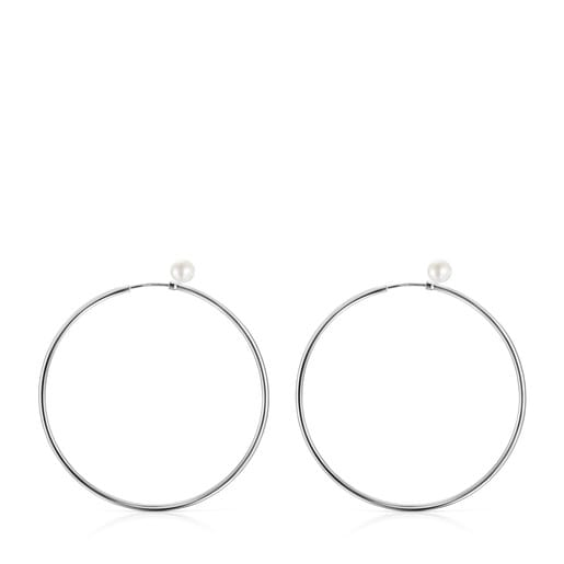 TOUS Basics large Earrings in Silver with Pearl