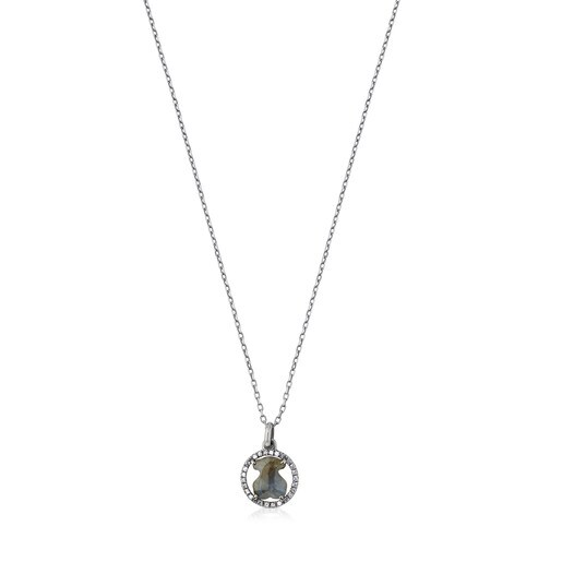 Silver Camille Necklace with Labradorite and Diamonds
