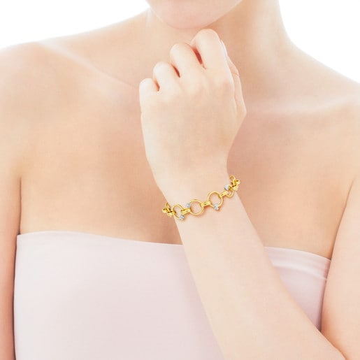 White and Yellow Gold Motif Bracelet with Diamond