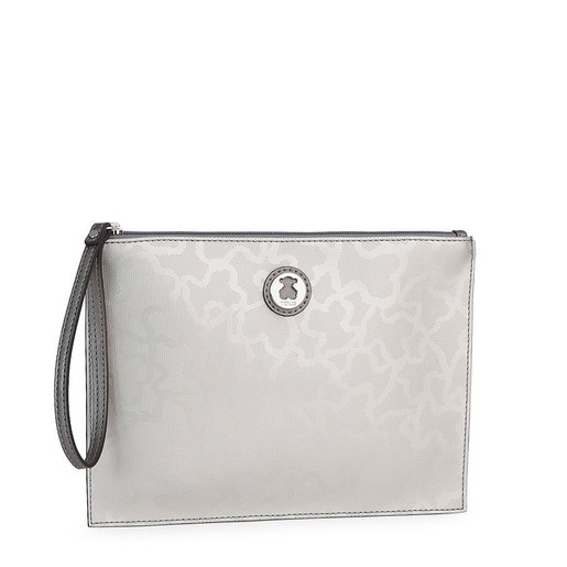 Silver colored Kaos Shiny Clutch bag