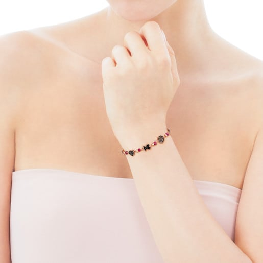 Rose Vermeil Silver Motif Bracelet with Spinel, Ruby and Onyx