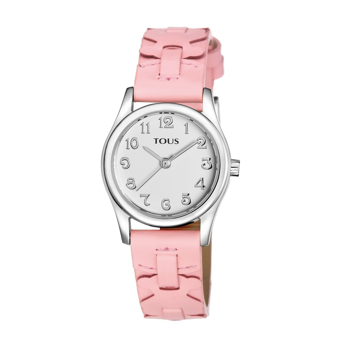 Steel Cruise Watch with pink Leather strap