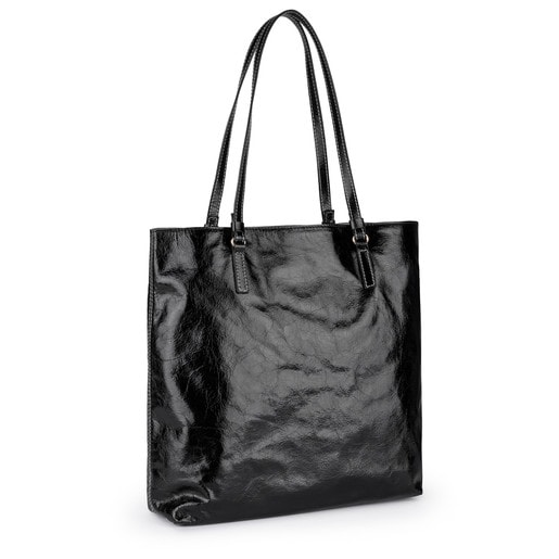 Sac shopping Tulia Crack grand en Cuir noir