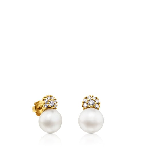 ATELIER Classic Earrings in Gold with Pearl and Diamonds