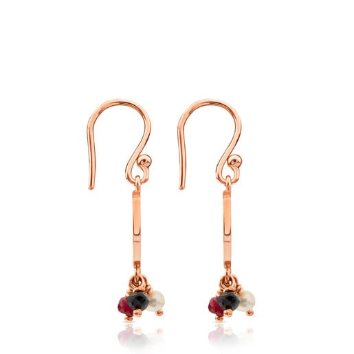 Rose Vermeil Silver Camille Earrings with Onyx