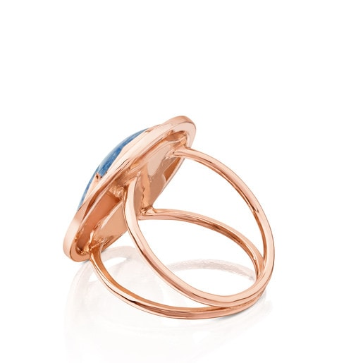 Rose Vermeil Silver Camille Ring with Quartz with Dumortierite