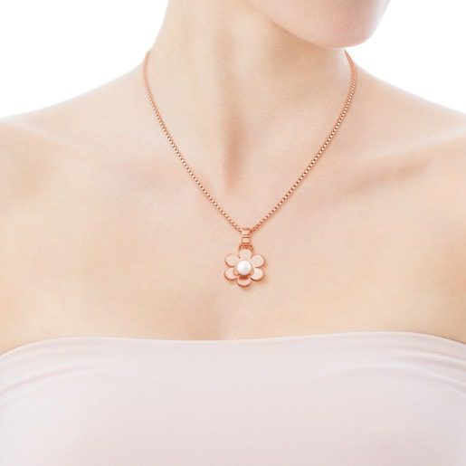 Pink Vermeil Silver Happy Moments Pendant with Pearl