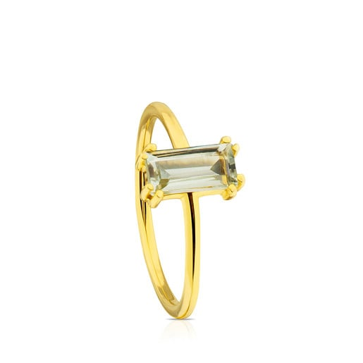 Vermeil Silver Camee Ring with Praseolite