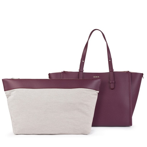 Burgundy-pink Leather Floriana Tote bag
