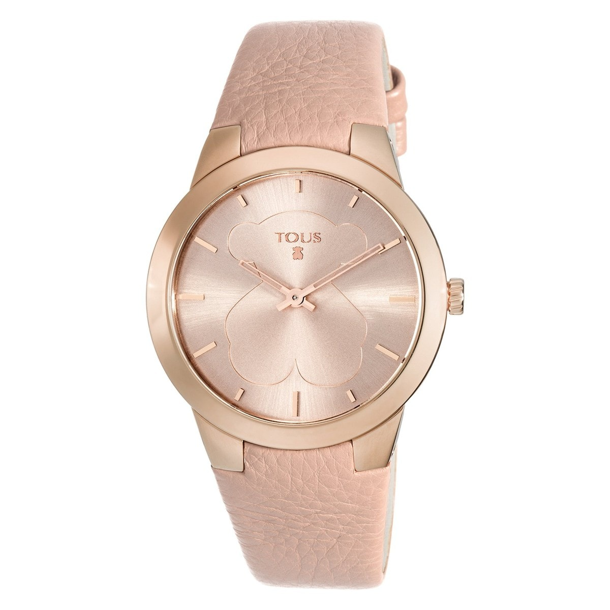 Pink IP Steel B-Face Watch with nude Leather strap