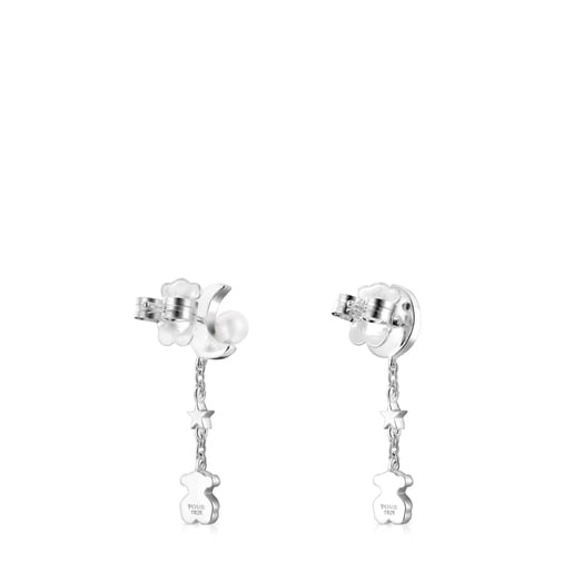 Long Nocturne Silver Earrings with Pearl