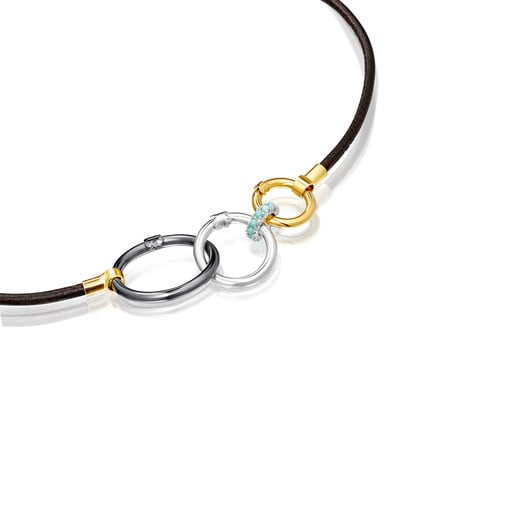 Hold Necklace in Silver Vermeil and brown Leather with rings