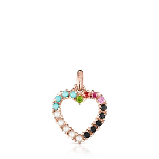 San Valentín heart Pendant in Rose Silver Vermeil with Gemstones