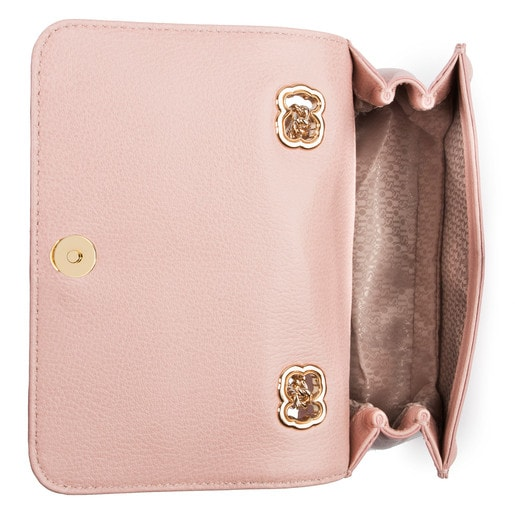 Small pink colored Leather Obraian Crossbody bag