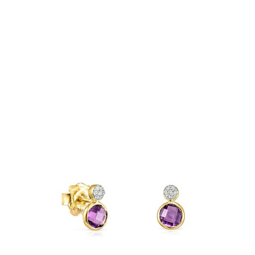 Gold with Amethyst and Diamonds Color Kings Earrings