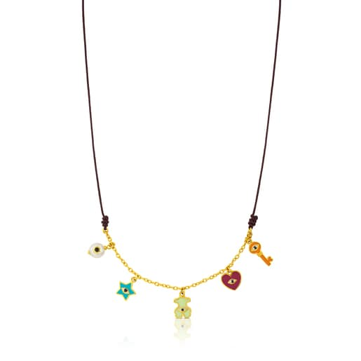 Vermeil Silver Face Necklace with Spinel, Pearl and Enamel