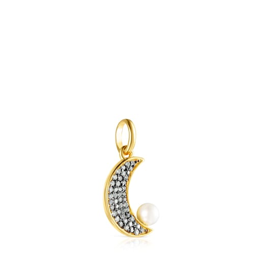 Nocturne half-moon Pendant in Silver Vermeil with Diamonds and Pearl