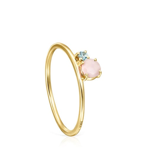 Mini Ivette Ring in Gold with Opal and Topaz