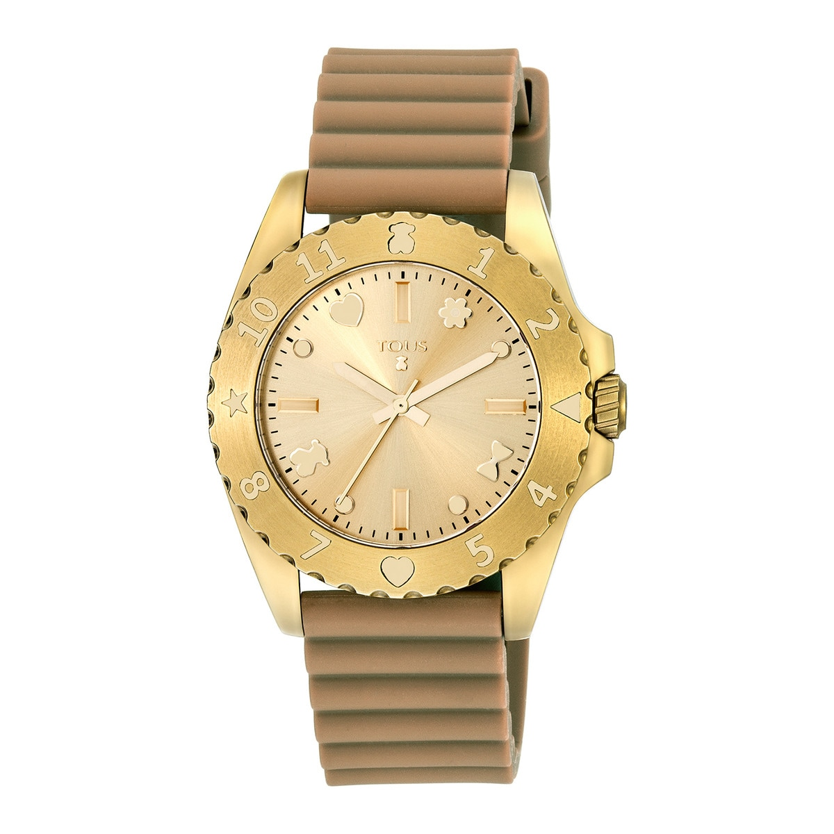 Gold IP Steel Motif Watch with make-up Leather strap