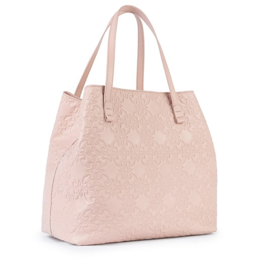 Large pink Leather Mossaic Tote Bag