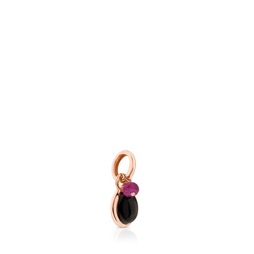 Rose Vermeil Silver Tiny Pendant with Onyx and Ruby