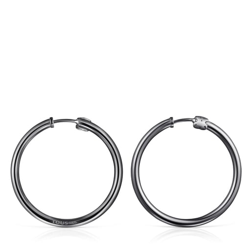 TOUS Basics large Earrings in Dark Silver