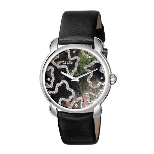 Steel Kaos Slim Watch with Diamonds and black Satin strap