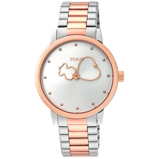 Reloj Bear Time bicolor de acero/IP rosado