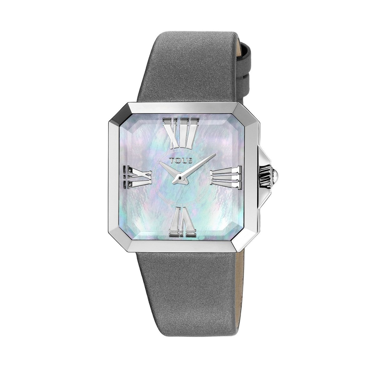 Steel Tresor Watch with gray Satin strap