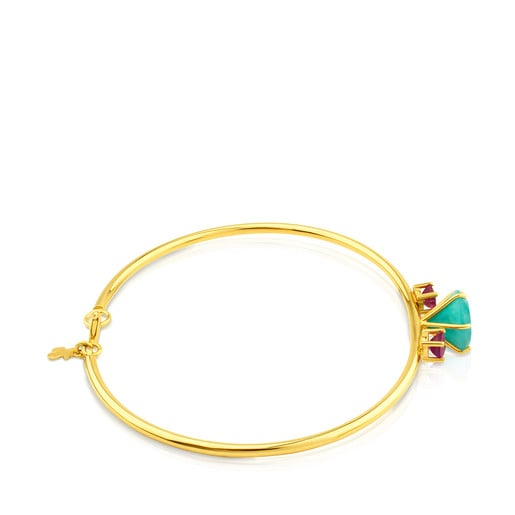 Gold Ivette Bracelet with Amazonite and Ruby