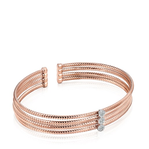 Pulsera triple Light de Oro rosa con Diamantes