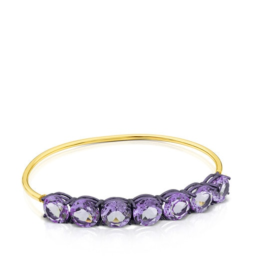 ATELIER Titanium Bangle with Gold and Amethysts