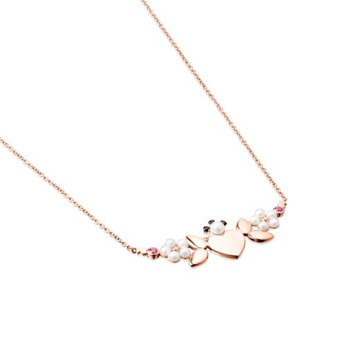Rose Silver Vermeil Real Sisy Necklace with Gemstones