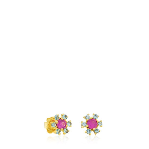 Gold Mini Teatime Earrings with Ruby and Topaz