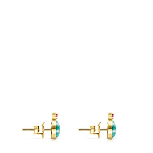 Gold TOUS Color Earrings with Amazonite and Ruby