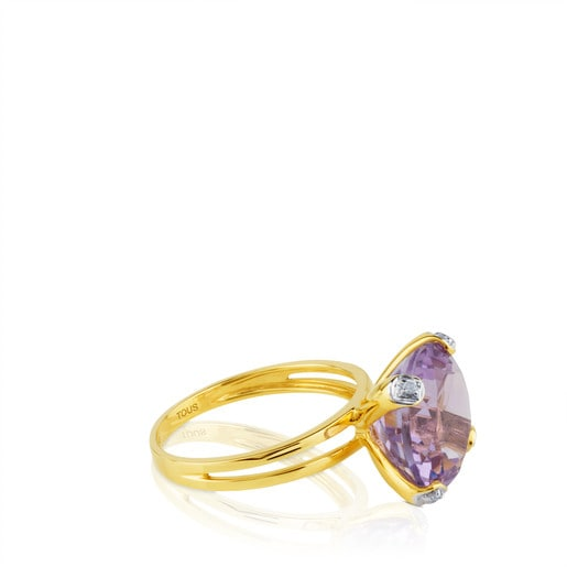 Ring Color Kings aus Gold mit Diamanten und Amethyst