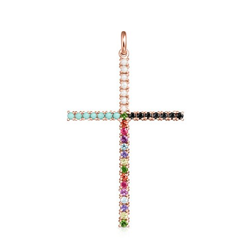 Straight cross Pendant in Rose Silver Vermeil with Gemstones