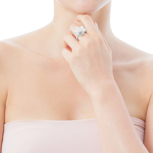 Silver Happy Moments Ring with Pearl