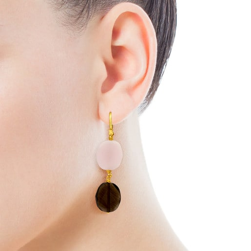 Vermeil Silver Terra Earrings with Opal and Quartz