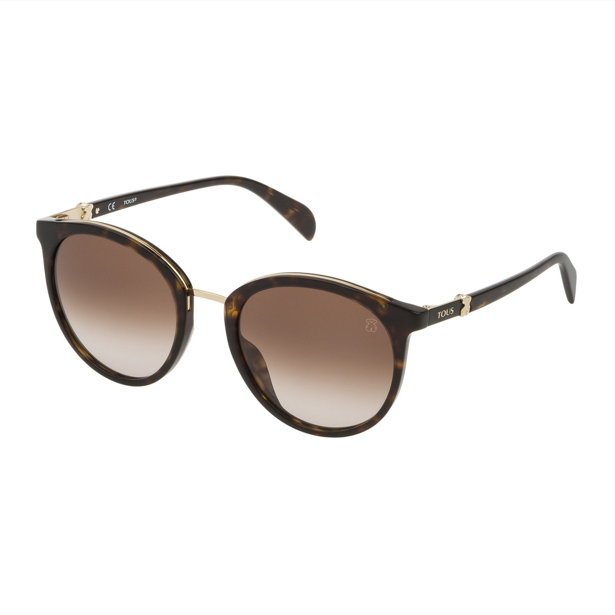 Havana Metal and Acetate Metal Mix Round Sunglasses