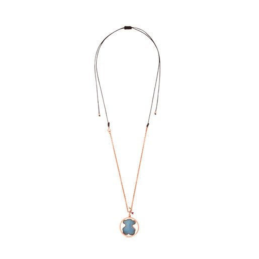 Rose Vermeil Silver Camille Necklace with Quartz with Dumortierite, Ruby and Pearl