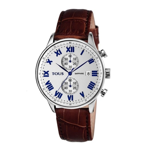 Steel Porto II Crono Watch with brown Leather strap