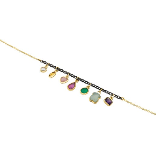 Gold and Silver Gem Power Bracelet with seven multicolor Gemstones