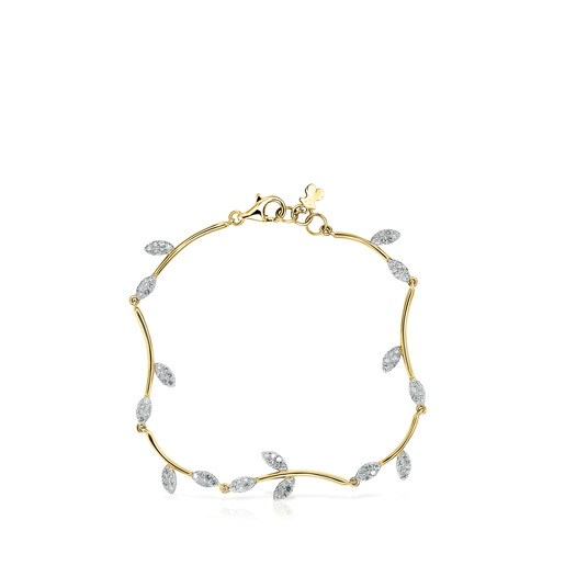 Gold Real Mix Leaf Bracelet with Diamonds